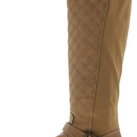 LOGAN09 CAMEL QUILTED KNEE HIGH RIDING BOOT