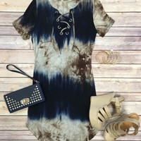 It's Only the Beginning Tunic Dress: Blue