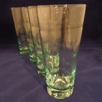 Libbey Ripple Green Tinted Glass Tumblers S/4