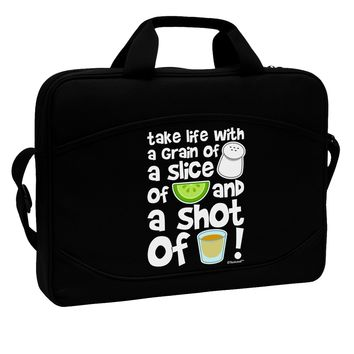 """Take Life with a Grain of Salt and a Shot of Tequila 15"""" Dark Laptop / Tablet Case Bag by TooLoud"""