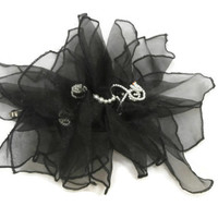 Handmade Hair Barrette Clip - Black Sheer Fabric Accented with Pearls, Hair Accessory for Women and Children