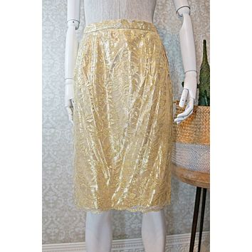 Vintage 1980s Scallop Lace + Gold Pencil Skirt