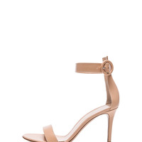 Ankle Strap Leather Heels in Nude