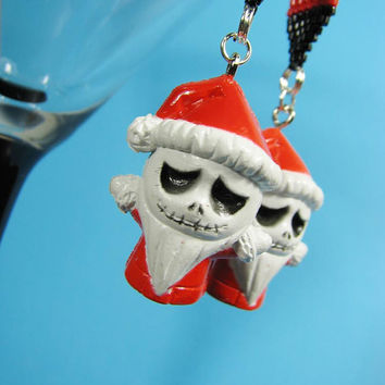 SALE LAST CHANCE One of a kind Beaded Jack Santa Nightmare before Christmas Earrings Kawaii emo gothic punk lolita rock