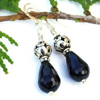 Black Onyx Teardrop Handmade Earrings, Sterling Silver Stars Artisan Dangle Gemstone Jewelry