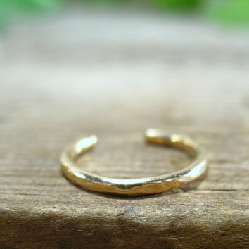 No Pierce Ring Gold Filled Hammered