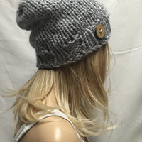 Knit Slouchy Hat Beanie Light Gray With Wood Button Warm And Cozy