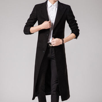 Spring Fashion British Mens maxi long formal Long Jackets Male punk style Black wool blend trench coat Size 3XL Free Shipping