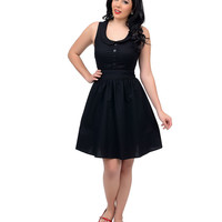 Retro Style Black Peter Pan Collar Faux Button Up Swing Dress