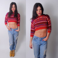Vintage 1990s CROPPED red graphic color blocked bold statement 3 quarter sleeve disco club kid party sweater XS