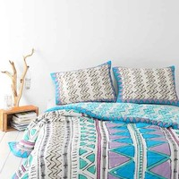 Magical Thinking Geo Sketch Quilt - Teal Full/queen