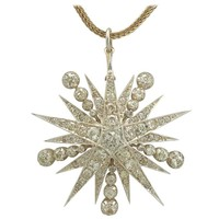 1890s Antique Victorian 3.65 Carat Diamond and Yellow Gold Star Brooch / Pendant