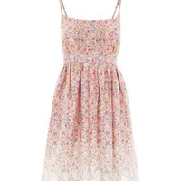 Pink Strappy Embroidered Hem Ditsy Floral Skater Dress
