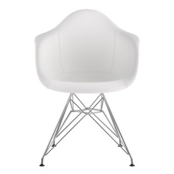 Mid Century Eiffel Arm Chair Milano White