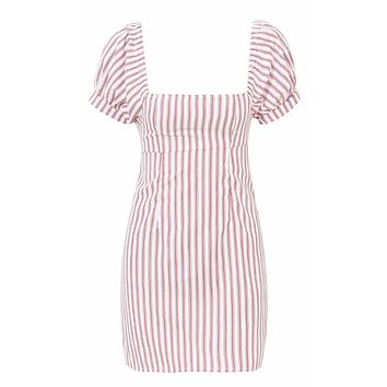 Dear Diary White Red Vertical Stripe Pattern Short Puff Sleeve Square Neck Bodycon Casual Mini Dress