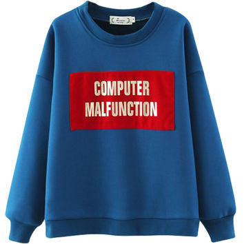 Blue Graphic Print Fleece Sweatshirt