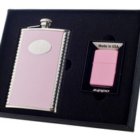 Visol Supermodel 8oz Flask and Zippo Lighter