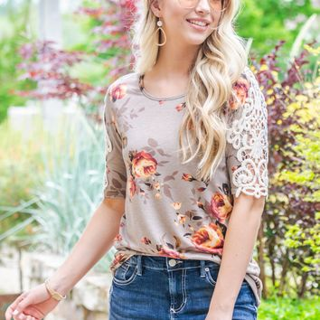 Lace Sleeve Floral Mocha Top
