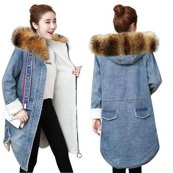 Warm wool lining Autumn winter denim jacket for women new 2018 European style women long coat Casual denim coat chaqueta mujer