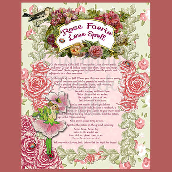 ROSE FAERIE LOVE Spell, Digital Download, Faerie,  Book of Shadows Page, Grimoire, Scrapbook, Spells