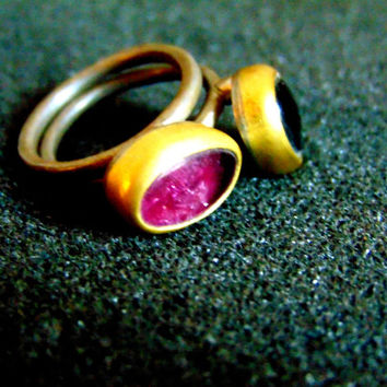 Beautiful sterling silver, 18k gold and pink tourmaline ring-Women's stackable ring-Gemstone silver and gold ring-Artisan jewelry-Greek art