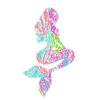 Mermaid Lilly Pulitzer  Decal, Lilly Inspired Decal Monogram, Lilly Pulitzer Decal, Lilly car decal, Lilly Pulitzer Yeti decal Custom Decal