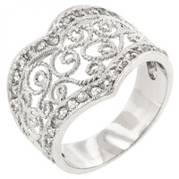 Cubic Zirconia Filigree Hearts Ring (size: 07)