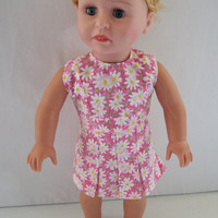 Handmade for American Girl Doll Pink with White Daisies 2 by vw53