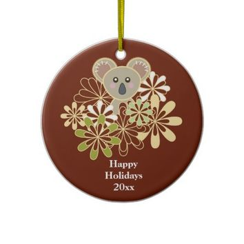 Custom Kids Red Christmas Tree Ornaments: Personalized Cute Animal Ornaments for Baby First Christmas: Baby Koala