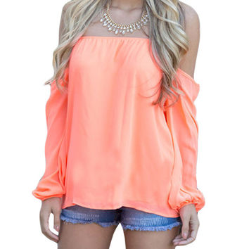 Orange Off The Shoulder Blouse