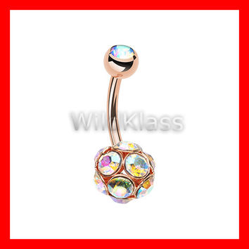 Rose Gold 14g Navel Ring Sparkle Multi Gem Aurora Borealis Belly Button Ring Navel Jewelry Navel Ring Belly Button Jewelry Belly Piercing