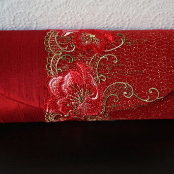Scarlet red clutch bag with lace overlay, Red silk clutch, Formal clutch purse. Red and Gold lace, metallic