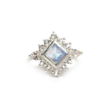 Sterling Silver Rainbow Moonstone, Morganite & Topaz Victorian Ring