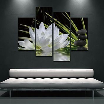 Canvas Wall Art Picture decoration 4 Pieces/set Print Flower White Lotus In Black with Modern Paintings Modular picture no frame