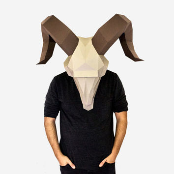 Make your own Ram Skull Mask, animal mask, Instant download, DIY Paper Masks, Printable Mask, DIY New Year Mask