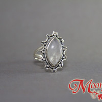 Rainbow Moonstone Marquise Starburst Sterling Silver Ring SS-010