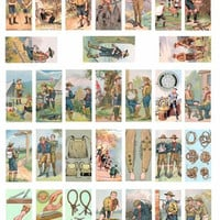 Digital domino Collage Sheet vintage boy scouts images 1x2 inch Printable Download for domino pendants magnets diy crafts scrapbooking