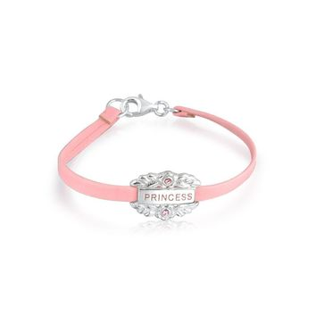 Pink Princess Heart Charm Bangle Leather Bracelet 925 Sterling Silver