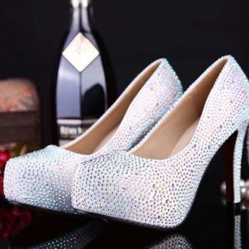 new arrival fashion women shoes rhinestone red bottom high heel wedding shoes woman crystal banquet bridal shoes size 332