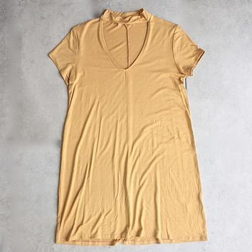 Final Sale - BSIC - choker mini swing dress - mustard