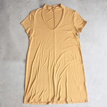 BSIC - choker mini swing dress - mustard