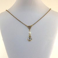 Necklace Gold Anchor With White Pearl