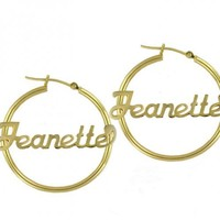 """Personalized Hoop Earrings 1.75"""" Sterling Silver w/ Yellow Gold Ovelay"""