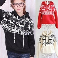 Autumn Women Lady Snow Deer Print Hoodie Coat Sweatshirt Tops Outwear