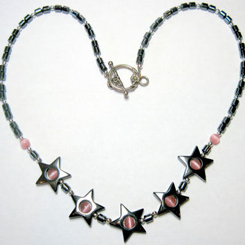 "18.5"" Necklace Hemalike Stars and Pink Cat's Eye Stunning"