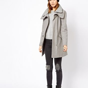 Warehouse Rib Collar Biker Coat