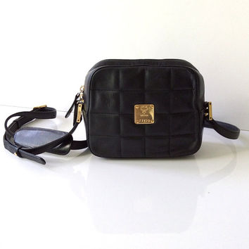 Vintage MCM Quilted Leather Cross Body Bag