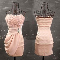 Gorgeous Stereo Rose Patterns High Waistline Strapless Pink Dress