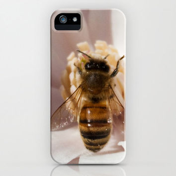 Honey Bee Flower iPhone Case iPod Touch 5c 5s 4 4s 3g 3gs Samsung Galaxy Hard Phone Cover Fine Art Unique Gift Spring Inspiration White