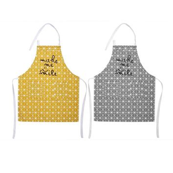Anti-oil Cotton Linen Bib Apron Grid Bakery Pocket Cover Skin-friendly Japanese simple Cooking Apron House Cleaning Apron